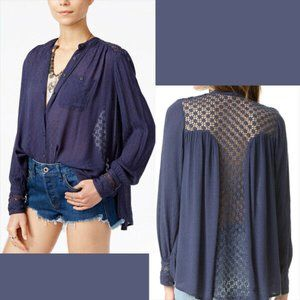 Free People M The Best Button Front Blouse Blue